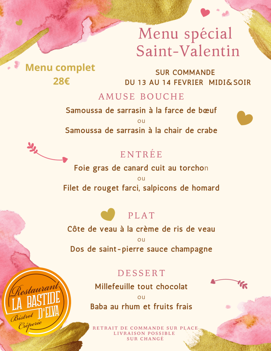 LA BASTIDE DELVA Restaurant Laval Menu Saint Valentin1