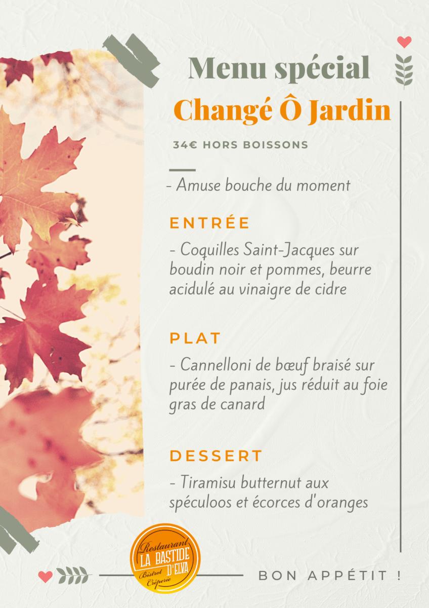 LA BASTIDE DELVA Restaurant Laval Menu Change O Jardin1